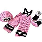 CX-Queen Baby Photography Prop Crochet Fireman Firefighter Hat Suspender Boots