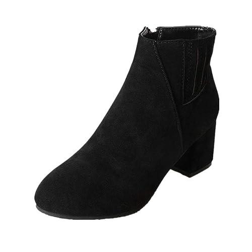 Mujer Invierno Botas Moda Color Sólido Calentar Botines Suela Suave Transpirable Boots 35-43: Amazon.es: Zapatos y complementos