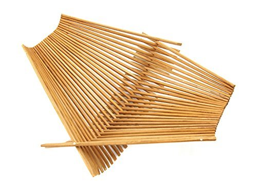 Chopstick Art Recycled Bamboo Chopstick Folding Basket, Large Tea Stained