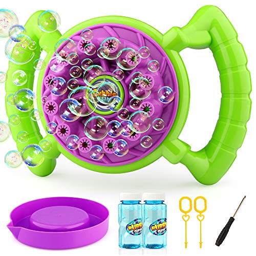 Growsland Bubble Machine for Kids Toddlers Boys Girls Handheld Bubble Blower Bubble Toys with 2 Bubbles Solution Summer Outdoor Toys Fun Bubbles Game for Kids Birthday Parties ,Wedding Gift (No Spill Bubble Machine)