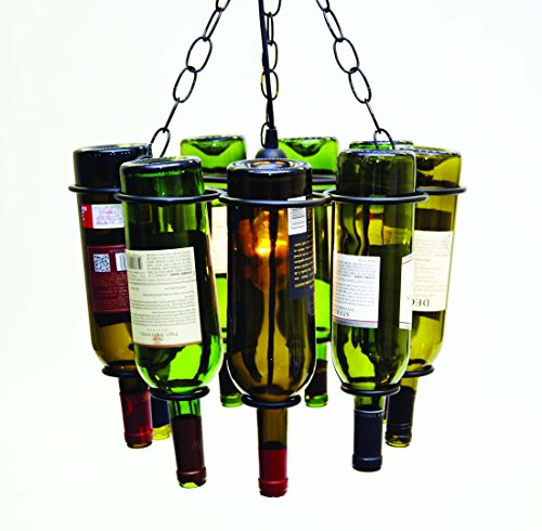 Hanging Wine Bottle Socket Set Pendant Lamp, Holds 9 Empty Wine Bottles. 11.5 Inches High X 15 Inches Diameter.