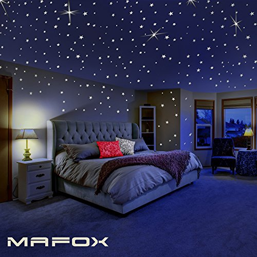 Decal Decor Room (Glow in the Dark Stars for Ceiling or Wall Stickers - Glowing Wall Decals Stickers Room Decor Kit - Galaxy Glow Star Set and Solar System Decal for Kids Bedroom Decoration)