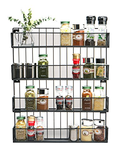 JackCubeDesign Wall Mount Spice Rack 4 tier Kitchen Countertop Worktop Display Organizer Spice Bottles Holder Stand Shelves(17.6 x 2.8 x 20.8 inches) - :MK418A (Best Oil For Wooden Kitchen Worktops)