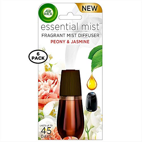 Air Wick Essential Mist Fragrant Mist Diffuser Refill, Peony & Jasmine 0.67 oz (Pack of 6) ()