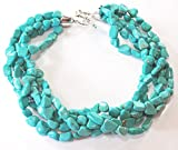 002 Ny6Design Multi-strands Blue Magnesite Turquoise Nugget Necklace w Silver Plated Clasp 22