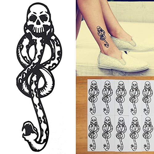 (COKOHAPPY 10 Pcs Magic Death Eaters Dark Mark Mamba Snake Temporary Tattoo for Harry Potter Costume)