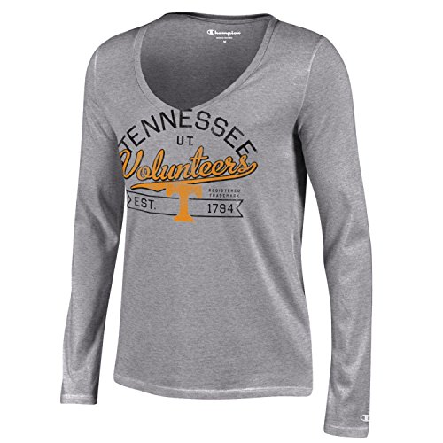 Sleeve Volunteers Tennessee Long (Champion NCAA Tennessee Volunteers Women's University Long sleeve V-Neck T-Shirt, Large, Gray)