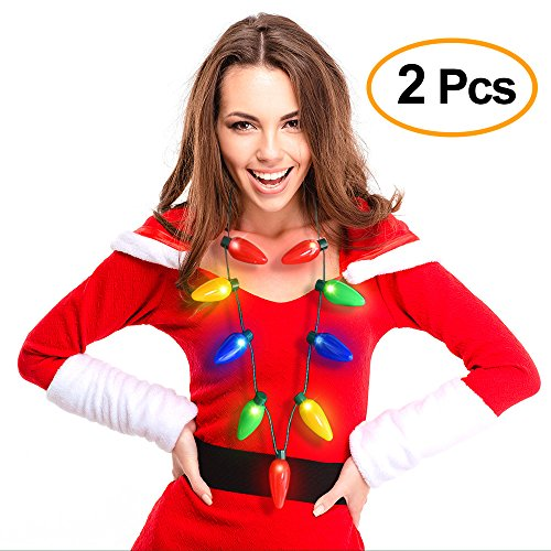Kuuqa 2 Pack Christmas Flashing Light Up Bulb Necklace Christmas Party Decoration (Make It Yourself Disney Costumes)