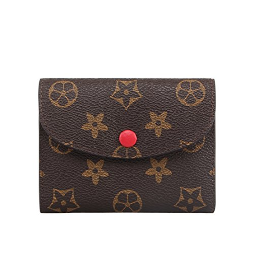 - SUNNY Famous Brand Womens Monogram Canvas Wallet on Sale Mini Credit Card Case Flower Designer Purse Card Holder (red)