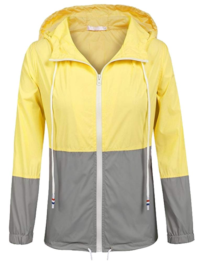 Vanbuy Womens Rain Jacket with Hood Lightweight Raincoat Outdoor Windbreaker Z172-Yellow-M