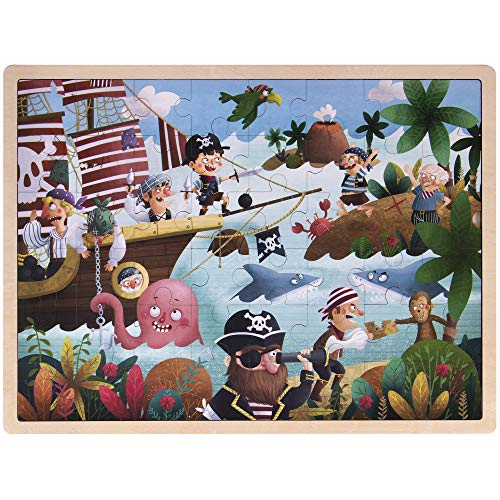 Ollie and Mr. Noodle: Playful Pirate Ship Jigsaw Puzzle | Children's 48 pc. Wooden Inset Travel Frame | Silly Seafaring Adventures, Early Learning, and Educational Fun for Kids, Toddlers, and Families ()