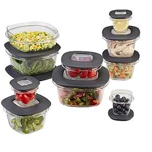 Rubbermaid Premier Food Storage Containers, 20-Piece Set, Grey