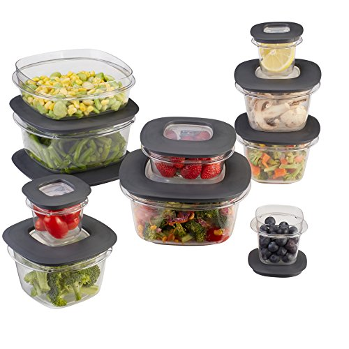 Rubbermaid Premier Food Storage Containers, 20-Piece Set, Grey
