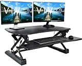 VIVO Black Deluxe Height Adjustable Standing Desk 36' Tabletop Monitor Sit to Stand Laptop Riser Removable Keyboard Tray Platform Converter (DESK-V000DB)