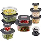 Food Storage Containers Organizer Rubbermaid Premier Food Storage Containers, 20-Piece Set, Grey