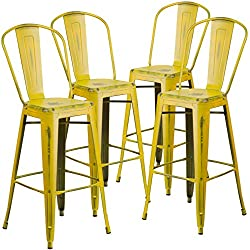 Flash Furniture 4 Pk. 30'' High Distressed Yellow Metal Indoor-Outdoor Barstool with Back