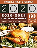 5 Year Planner 2020-2024: 60 Months Calendar Large size  8.5 x 11 2020-2024 planner, organizer and internet logbook | happy thanksgiving decorations design (5 year monthly planner 2020-2024)