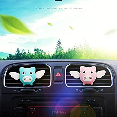wonderfulwu 2PCS Car Air Freshener Decorations Perfume Cute Flying Pig Fragrance Interior Air Vent Holder Container (Blue): Automotive