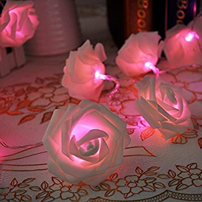 Sunniemart 2m 20 LED Rose Globe String Lights Battery Operated String Fairy Lights for Valentine's Day, Christmas, Wedding, Party