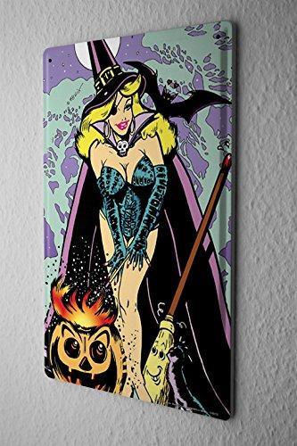Tin Flying Sign (Tin Sign Bar Restaurant Decoration FeliX Flying witch broom pumpkin Halloween 8X12