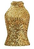 Howriis Women's Gold Sequins Halterneck Summer Short Vest Tank Tops (One Size, Gold)