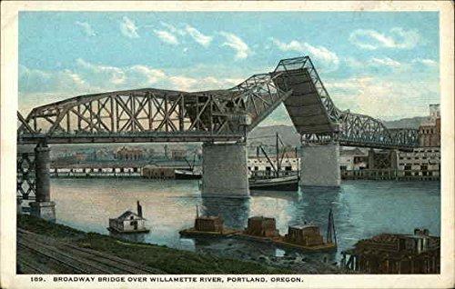 (Broadway Bridge over Willamette River Portland, Oregon Original Vintage Postcard)