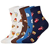 YourFeet Women's Cotton Fun Animal Food Designed Novelty Crew Socks Gifts Size 6-9 (Snack)
