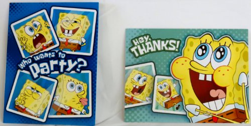 Spongebob Squarepants Birthday Invitations w/ Envelopes and Thank You Notes - (8 of Each) (Spongebob Birthday Party Invitations)