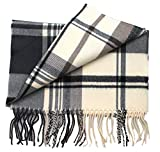 2 PLY 100% Cashmere Scarf Elegant Collection Made in Scotland Wool Solid Plaid (Snow White Solid)