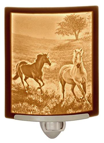 Morning Run Horses Porcelain Lithophane Night - Lithophane Light Night