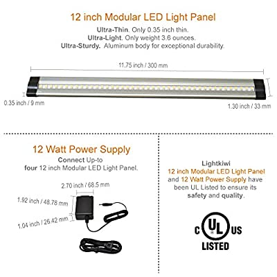 Lightkiwi 12 Inch Warm White Modular LED Under Cabinet Lighting - Premium Kit