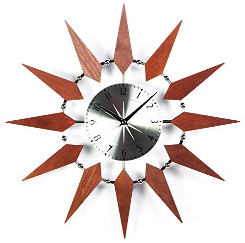 Stilnovo Starbust Wall Clock, Silver/Walnut