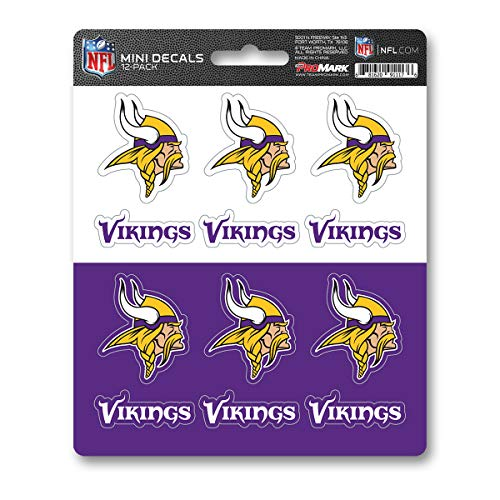 ProMark NFL Minnesota Vikings DecalDecal Set Mini 12 Pack, Team Colors, One Size