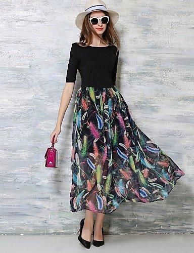 PU&PU Robe Aux femmes Swing Bohème,Imprimé Col Arrondi Maxi Coton / Polyester , black-l , black-l