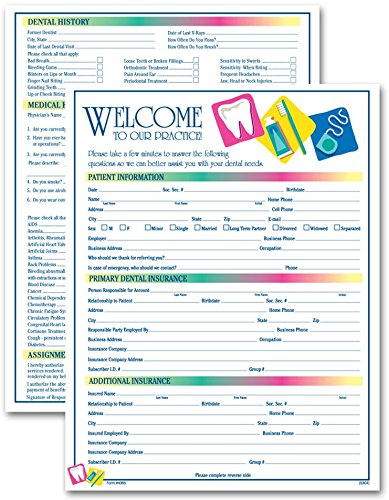 (Two-Sided Dental Icon Design Registration & History Form, 3 Pads, 100 Forms Per Pad, English )