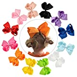 CHLONG 12pcs 6 Inches Pure Color Large Grosgrain Ribbon Hair Bow Clips Set for Baby, Girl, Young (6inch-12pcs)