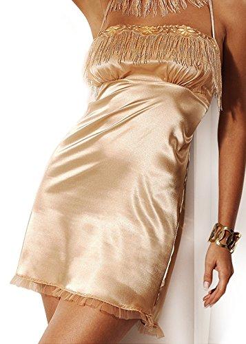 miran 727Visión Dichtes Luxus Satin Noche Camisa, NEGLIGEE Babydoll Lencería Ropa Estimulante, color crema, oro