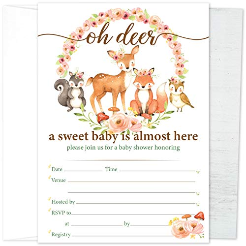 Paper Kit Co. Woodland Creatures Baby Shower Invitations with Envelopes | 25 Pack. Oh Deer Gender Neutral Invites Feature Owl, Fox, and Forest Animals. Fill in Invite Set Great for Boy or Girl.