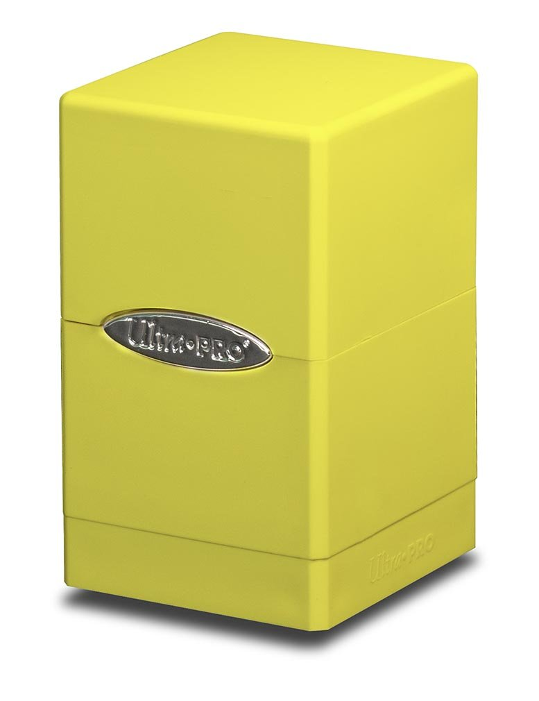 Bright Yellow Satin Tower Deck Box by Ultra Pro