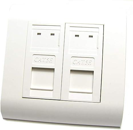 BeMatik - Caja de pared o canaleta de 80x80 con 2 RJ45 UTP Cat.5e 568B: Amazon.es: Informática