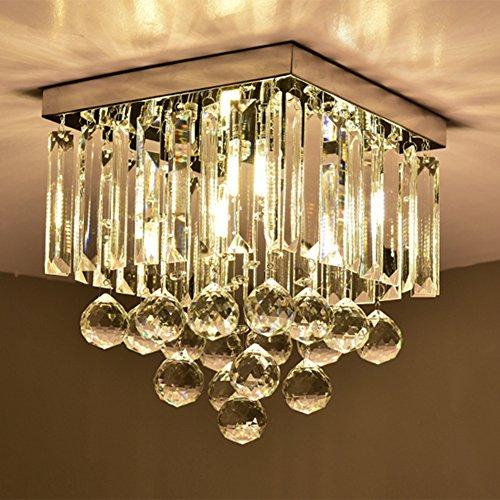 Hsyile KU300114 Modern Simple Ceiling Lamp Square Crystal Lamp Creative Lighting Corridor Lamp Aisle Lights,1 Light (Light Square Crystal)