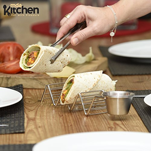 Deluxe Stainless Steel Taco Holder - Taco Stand - Taco Rack - Taco Serving Tray By mdaKitchen – With Sauce Dip Salsa Guacamole Cup & [BONUS Tongs & eBook] – Dishwasher Safe - Set of 2 by mdaKitchen (Image #2)