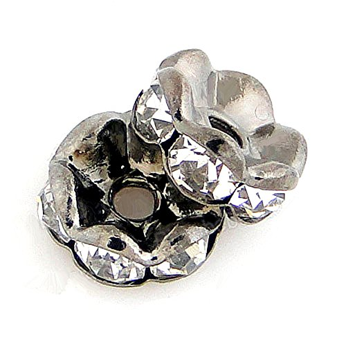 (RUBYCA 100pcs Wavy Rondelle Spacer Bead Gunmetal Black 6mm White Clear Czech Crystal)
