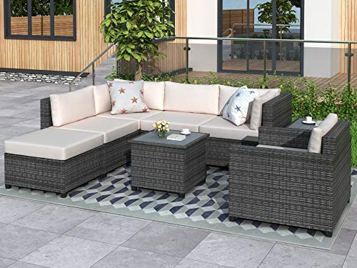 LZ LEISURE ZONE Patio Conversation Set 8 Piece Outdoor Furniture Sets All Weather Rattan Sectional Seating Group