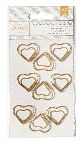 American Crafts 9 Piece Designer Desktop Heart Paper Clips (Heart Clip)