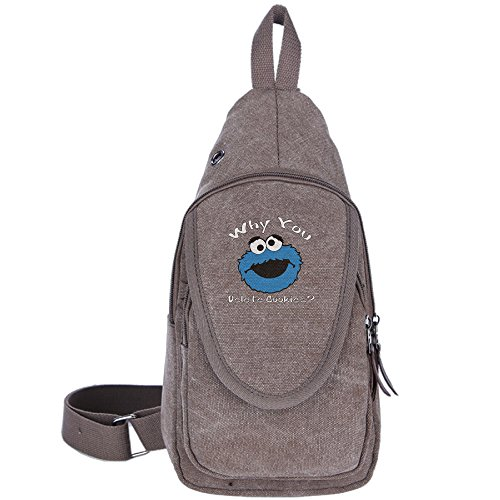 Adult WHY YOU DELETE COOKIE MONSTER Chest Bag Crossbody Bag (Cookie Monster Headband)