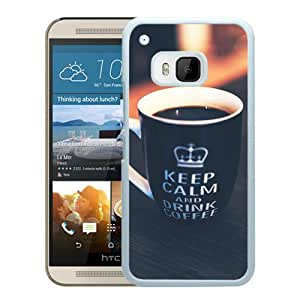 Unique HTC ONE M9 Keep Calm Drink Coffee Cup White Screen Phone Case Luxury and Cool Design