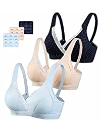 3PACK Womens Seamless Nursing Bra Bralette M-2XL with Free Bra Extenders