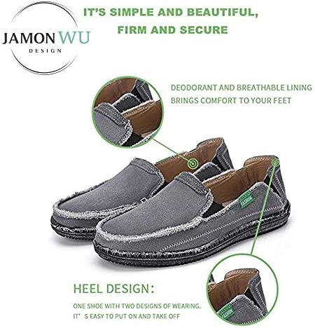 JAMONWU Mens Canvas Shoes Slip on Deck Shoes Boat Shoes Non Slip Casual Loafer Flat Outdoor Sneakers