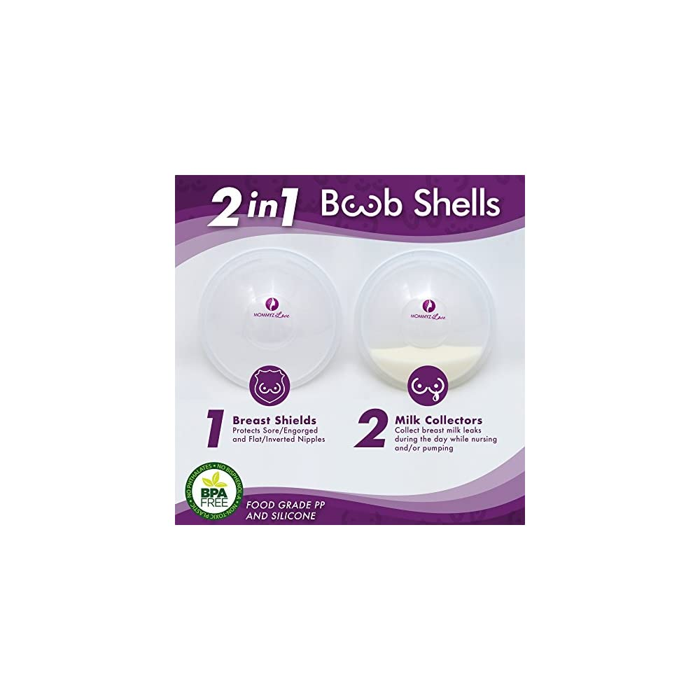 Breast Shell & Milk Catcher for Breastfeeding Relief – ( 2 in 1) Protect  Cracked, Sore, Engorged Nipples & Collect Breast Milk Leaks During the Day,